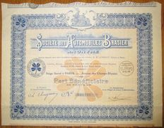 Societe des Automobiles Brasier - Share 1926 - stock certificate of well-known French automobile manufacturer