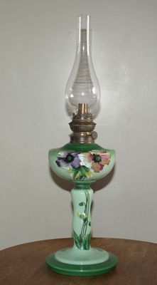 Opaline glass oil lamp, Ca. 1930, France