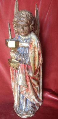Candle spike in polychrome wood and gilding - France - Baroque - 18th century