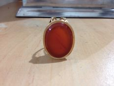 Pendant set with 18 ct carnelian