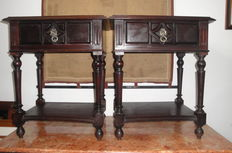 A pair of mahogany side tables with drawer, Portugal, 1st Half of the 20th century