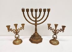 Copper 7-light Menorah candle holder and 2 small candlesticks
