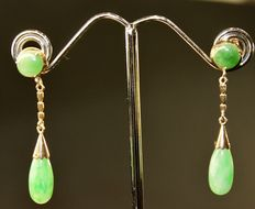 Antique Great 18k Gold and Green Jade Earrings TearDrop Chinese