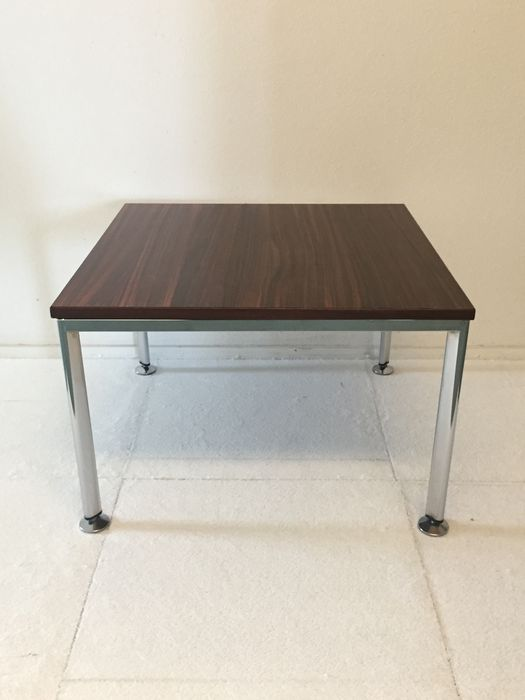 Mid Century Design Chrome And Wood Coffee Table