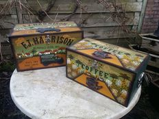 Set of two vintage hand-painted wooden boxes boxes with relief