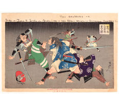 """Large original Japanese woodcut """"Night Attack of the Soga Brothers"""" (from the """"Heroes of Heike"""" series) by Toyohara (Yoshu) Chikanobu – Japan – 1898"""