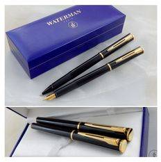 Waterman Apostrophe Fountain Pen + Rollerball Pen | Black Lacquer GT | New Old Stock - Mint Condition