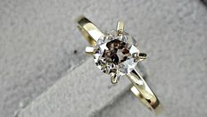 1.02 ct  round diamond ring 14K yellow gold - size 7