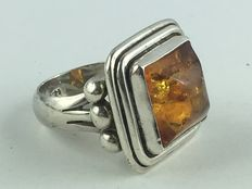 Vintage ring made of genuine 925 silver and real amber around 1960