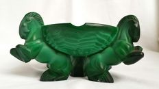 Arthur Pleva for Curt Schlevogt glass factory - Malachite glass ashtray