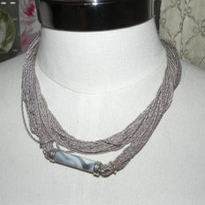 Henkel & Grosse Dior – jewellery manufacturer – 925 silver necklace and grey agate