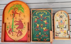 Homas SIAL marble billiards - Match football marble board - Circus with clowns marble board - 1960s