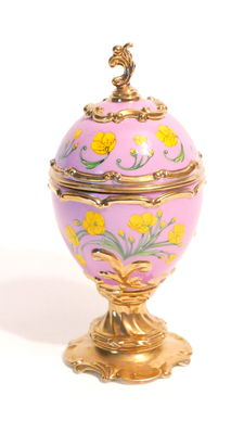 """Collector music box egg in porcelain gold - plated """"House of Fabergé Musical Eggs, Buttercup"""""""