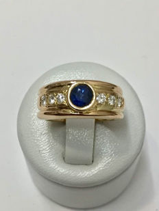 18 kt gold ring with diamonds and sapphire for a total of approx. 0.86 ct - Size 53 (FR).
