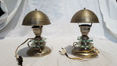 Pair of Art Deco lampshades in metal and glass