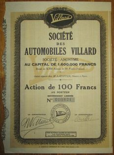 Societe des Automobiles Villard - Share 100 Francs 1930 - stock certificate of well-known French automobile manufacturer