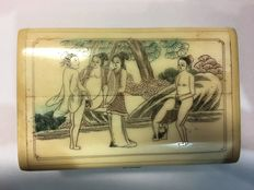 Oriental erotica; Box with erotic depiction on the lid-late 20th century