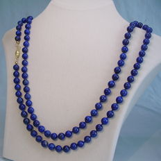 Long, natural lapis lazuli necklace 330ct.From Idar-Oberstein Germany circa 1955/60