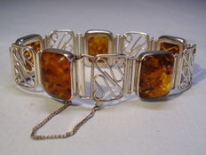 Antique amber necklace, handmade of silver and signed, from around 1930
