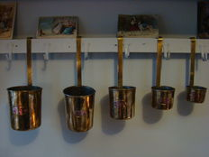 Five copper measuring cups, approximately1950, France