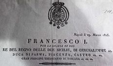 Francis I, Kingdom of the two Sicilies - Edict for the compulsion of overdue debtors - 1825
