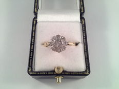 Old 18 kt yellow and white gold ring with diamonds of 0.25 ct