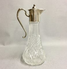 Cut glass decanter for red wine with silver plated mounting, so-called. claret jug, England, ca. 1955