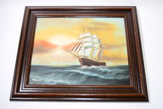 A painting of a ship at sea - painter unknown