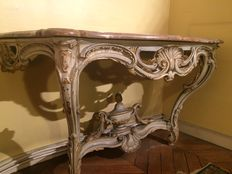 Console, Louis XV style, in carved wood and marble - France - 19th century