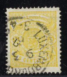 Luxembourg 1880 – State's coat of arms 5 cents – yellow – in perforation 11½ x 12 – Michel 39