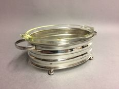 Silver plated holder with fire proof baking dish, England, ca. 1950