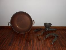 Antique pressoir a groseilles with large copper bowl