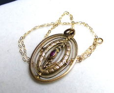 Biedermeier necklace with laurel pendant with ruby