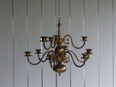 Copper candle chandelier with nine arms, 1st half 20th century