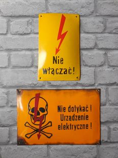 2 x Polish Curved Enamel electricity warning signs - ca 60's