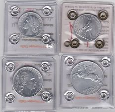Republic of Italy – Complete 1948 series of four denominations of 1/2/5/10 Lire