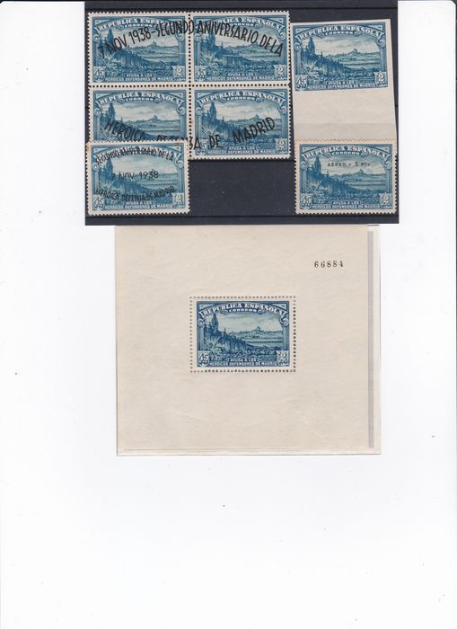 Spain 1938 – Defence of Madrid – Edifil number 757 – H.B. 758, 759 – Aerial Mail Sealed CEM, 789/790