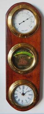 Large plaque sailboat with inclinometer, hygrometer and clock 1970 h. 50 cm.