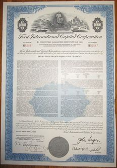 Ford International Capital Corporation - Bond for $1000 issued 1968 - stock certificate of famous Ford car manufacturer