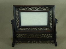 White jade panel with hard wooden standard - China - Late 20th century