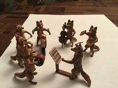 Foxes orchestra  - polychrome bronze - indistinctly marked - perhaps Foundry Bergmann, Vienna - first half of the 20th century