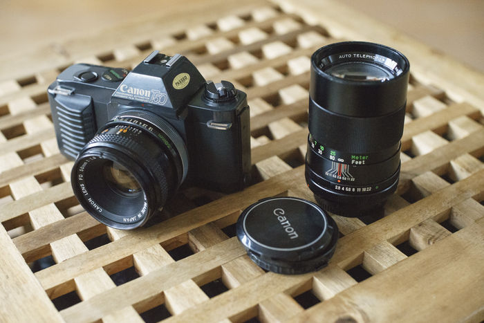 Canon T50 with two lenses
