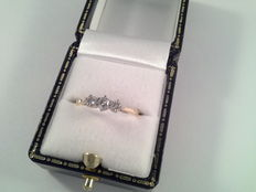 Yellow gold and platinum ring with diamond 0.30 ct