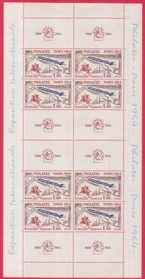France 1964 - Space, Philatec Paris sheet + stamp with margin