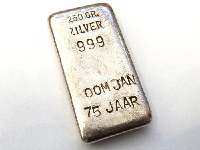 Silver bar, 250 gr, 999, Oom jan 75 jaar