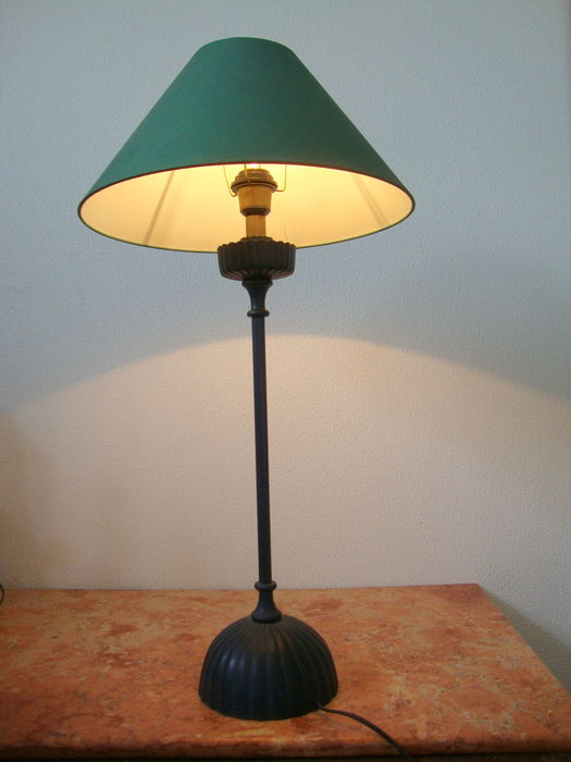 Slim tall metal table lamp with green shade second half for Tall slim lamp table