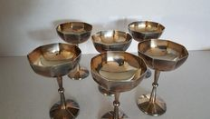 Six Champagne cups, from around 1960, Milan