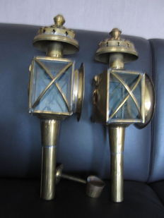 Two beautiful old copper carriage lamps with cut glass - late 19th century