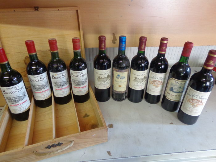 4x 1987 Chat. Beau Site Puisseguin-St. Emilion / 2x 1998 Chat. Cassagne Haut-Canon La truffiere Canon-Fronsac / 1990 Les Hauts du Tertre Margaux / 1998 Chat. Haut Mousseau Cotes de Bourg / 2x 1999 Chat. Lilian Ladouys St. Estephe / 10 bottles in total