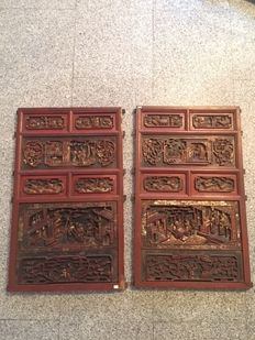 Red wooden panels - China - 19h century